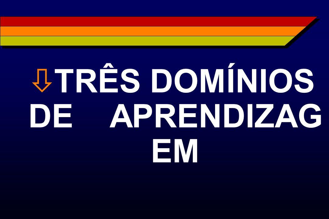 ò TRÊS DOMÍNIOS DE APRENDIZAG EM