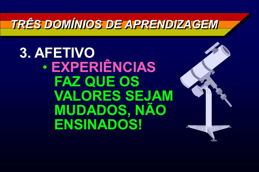 TRÊS DOMÍNIOS DE APRENDIZAGEM 3. AFETIVO EXPERIÊNCIAS FAZ QUE OS VALORES SEJAM MUDADOS, NÃO ENSINADOS!