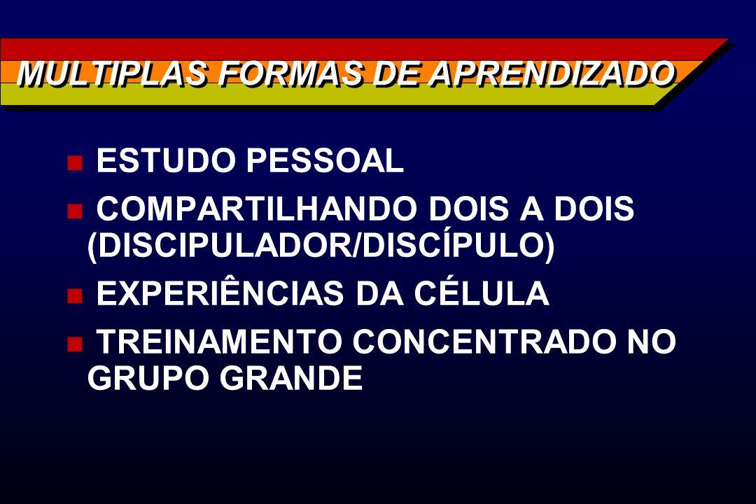 MULTIPLAS FORMAS DE APRENDIZADO n ESTUDO PESSOAL n COMPARTILHANDO DOIS A DOIS (DISCIPULADOR/DISCÍPULO) n EXPERIÊNCIAS DA CÉLULA n TREINAMENTO CONCENTR