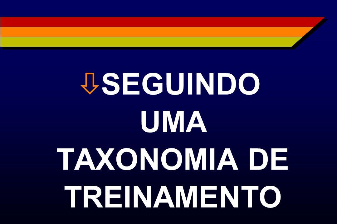 ò SEGUINDO UMA TAXONOMIA DE TREINAMENTO