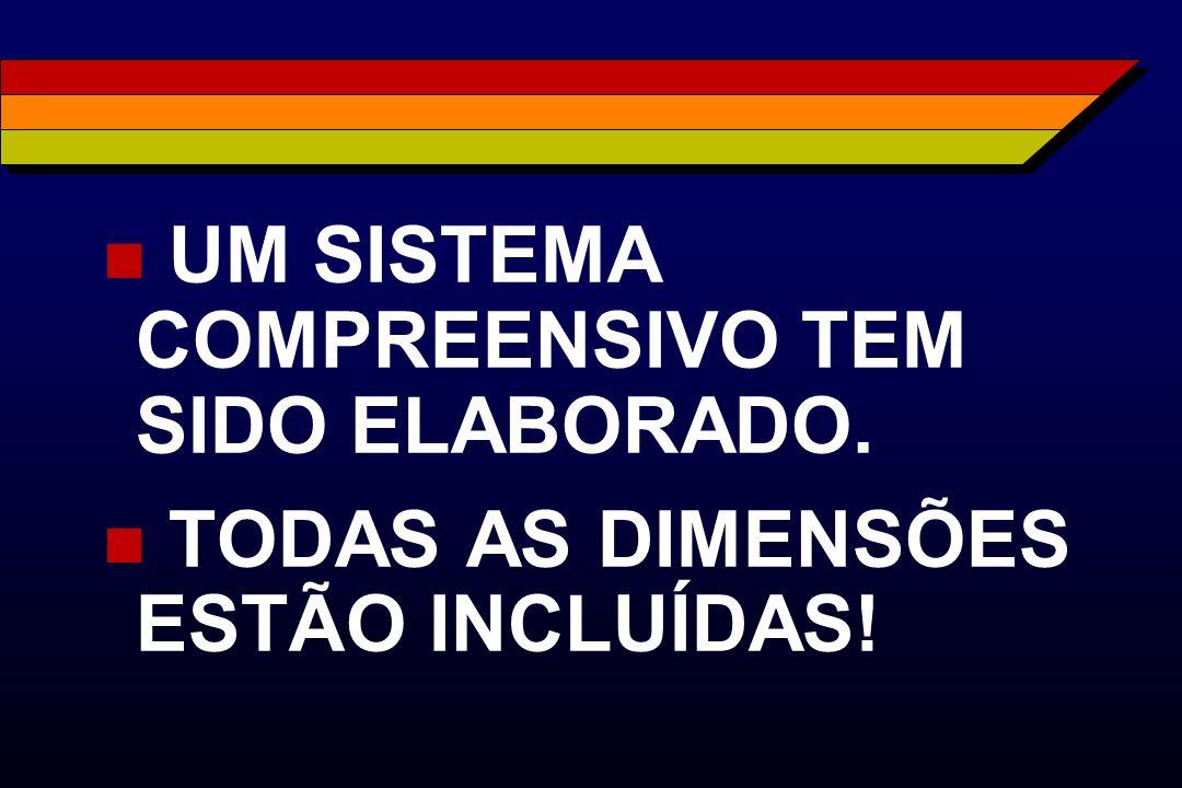 n UM SISTEMA COMPREENSIVO TEM SIDO ELABORADO. n TODAS AS DIMENSÕES ESTÃO INCLUÍDAS!