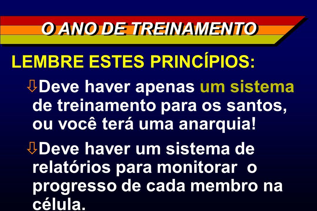 LEMBRE ESTES PRINCÍPIOS: ò Deve haver apenas um sistema de treinamento para os santos, ou você terá uma anarquia! ò Deve haver um sistema de relatório