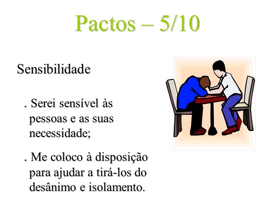 Pactos – 5/10 Sensibilidade. Serei sensível às pessoas e as suas necessidade;. Me coloco à disposição para ajudar a tirá-los do desânimo e isolamento.