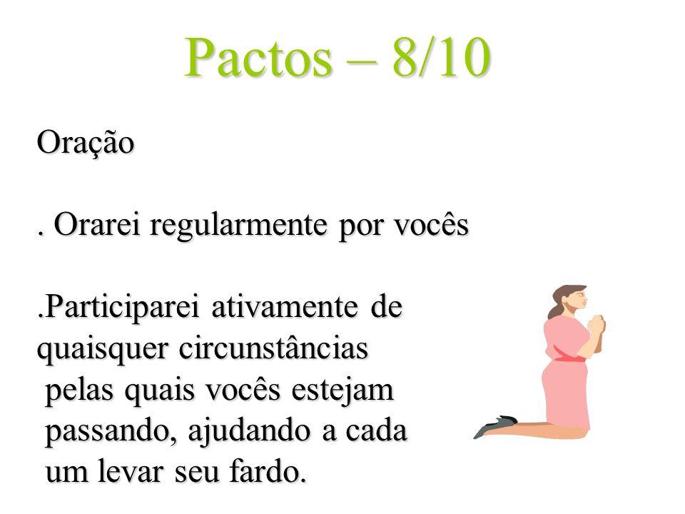 Pactos – 8/10 Oração. Orarei regularmente por vocês.Participarei ativamente de quaisquer circunstâncias pelas quais vocês estejam pelas quais vocês es