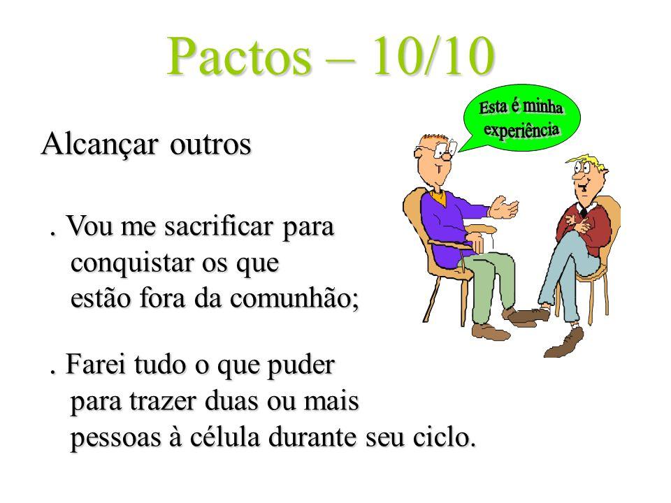 Pactos – 10/10 Alcançar outros. Vou me sacrificar para conquistar os que estão fora da comunhão;. Farei tudo o que puder para trazer duas ou mais pess
