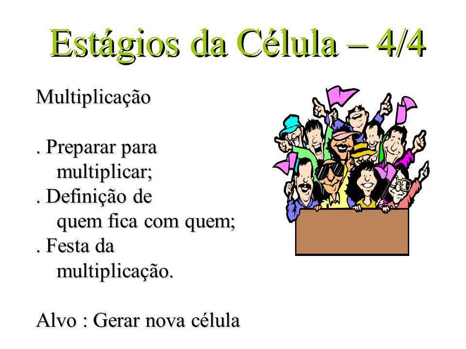 Estágios da Célula – 4/4 Multiplicação. Preparar para multiplicar;. Definição de quem fica com quem;. Festa da multiplicação. Alvo : Gerar nova célula