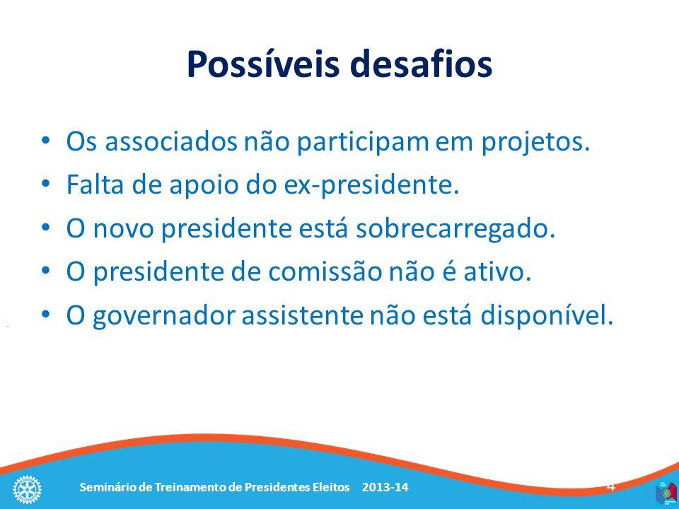 Seminário de Treinamento de Presidentes Eleitos 2013-14 4 Possíveis desafios Os associados não participam em projetos. Falta de apoio do ex-presidente