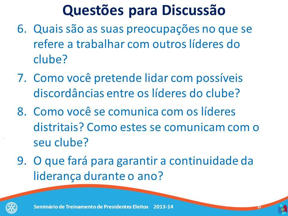 Seminário de Treinamento de Presidentes Eleitos 2013-14 6 Questões para Discussão 6.Quais são as suas preocupações no que se refere a trabalhar com outros líderes do clube.