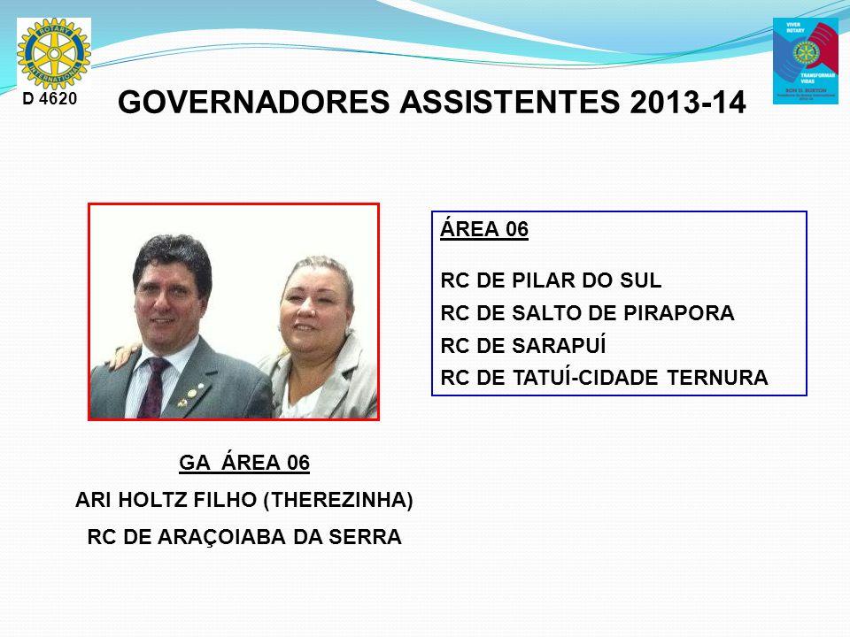 GA ÁREA 06 ARI HOLTZ FILHO (THEREZINHA) RC DE ARAÇOIABA DA SERRA D 4620 GOVERNADORES ASSISTENTES 2013-14 ÁREA 06 RC DE PILAR DO SUL RC DE SALTO DE PIR