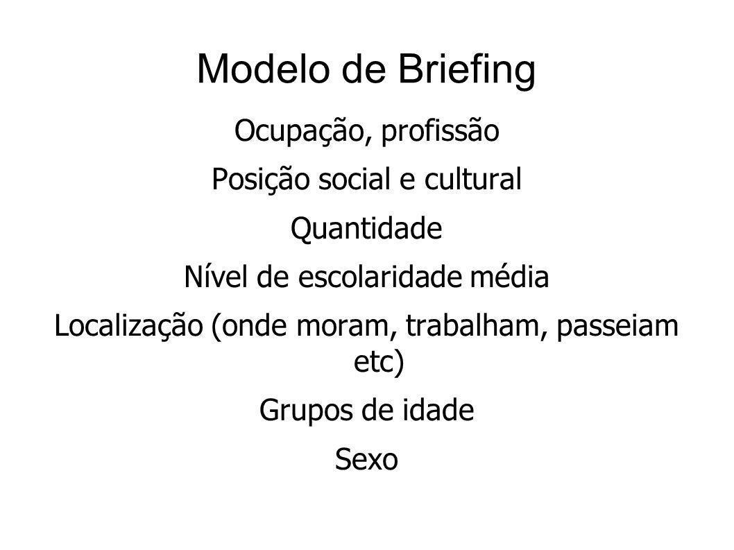Modelo de Briefing Ocupação, profissão Posição social e cultural Quantidade Nível de escolaridade média Localização (onde moram, trabalham, passeiam e
