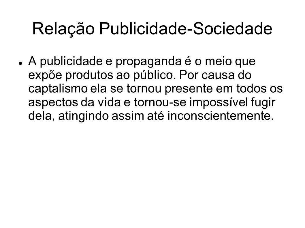 Relação Publicidade-Sociedade A publicidade e propaganda é o meio que expõe produtos ao público. Por causa do captalismo ela se tornou presente em tod
