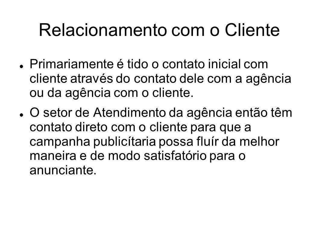 Relacionamento com o Cliente Primariamente é tido o contato inicial com cliente através do contato dele com a agência ou da agência com o cliente. O s
