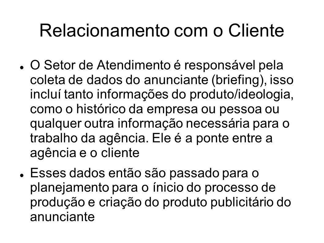 Relacionamento com o Cliente O Setor de Atendimento é responsável pela coleta de dados do anunciante (briefing), isso incluí tanto informações do prod