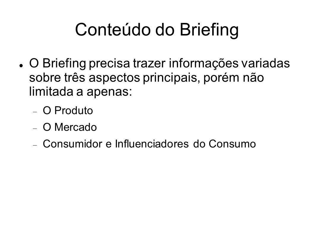 Conteúdo do Briefing O Briefing precisa trazer informações variadas sobre três aspectos principais, porém não limitada a apenas: O Produto O Mercado C