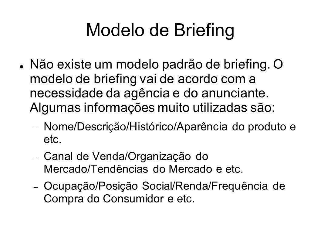Modelo de Briefing Não existe um modelo padrão de briefing. O modelo de briefing vai de acordo com a necessidade da agência e do anunciante. Algumas i