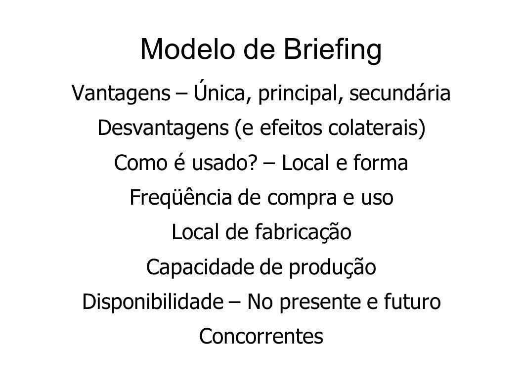Modelo de Briefing Vantagens – Única, principal, secundária Desvantagens (e efeitos colaterais) Como é usado? – Local e forma Freqüência de compra e u