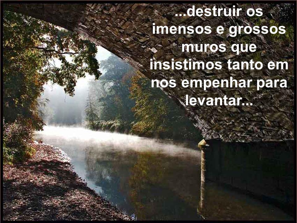 ...destruir os imensos e grossos muros que insistimos tanto em nos empenhar para levantar...