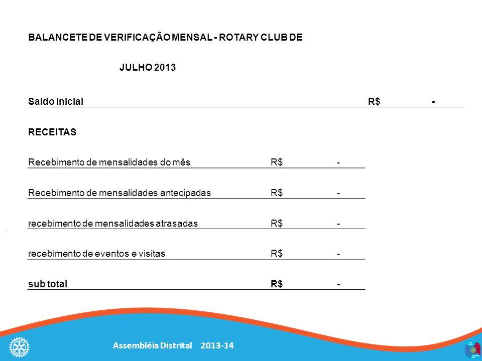 Assembléia Distrital 2013-14 BALANCETE DE VERIFICAÇÃO MENSAL - ROTARY CLUB DE JULHO 2013 Saldo Inicial R$ - RECEITAS Recebimento de mensalidades do mê