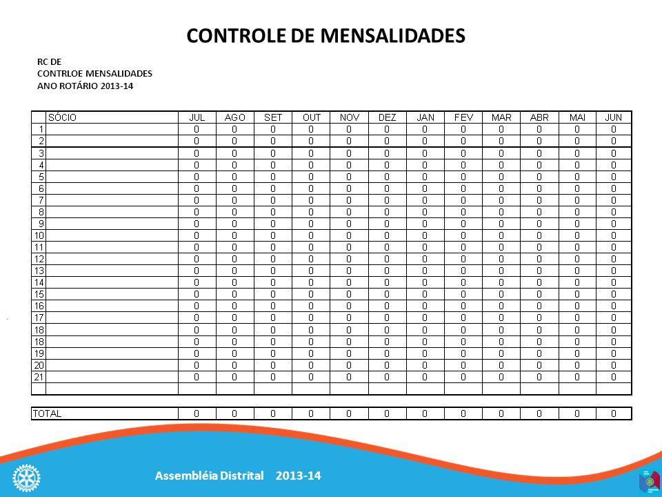 Assembléia Distrital 2013-14 CONTROLE DE MENSALIDADES RC DE CONTRLOE MENSALIDADES ANO ROTÁRIO 2013-14