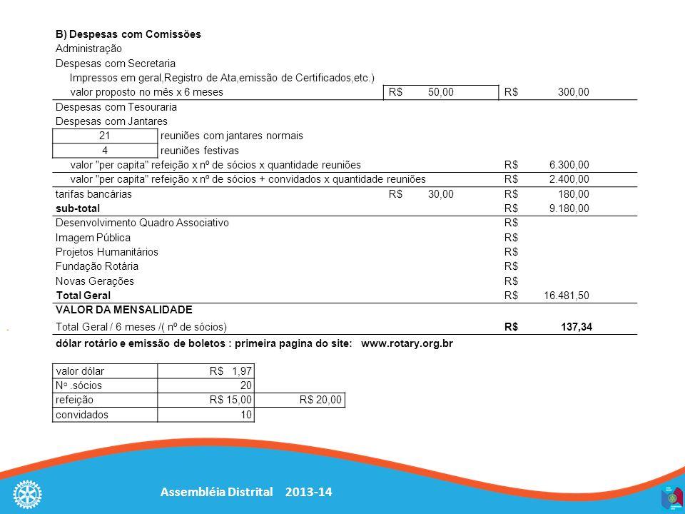 Assembléia Distrital 2013-14 B) Despesas com Comissões Administração Despesas com Secretaria Impressos em geral,Registro de Ata,emissão de Certificado