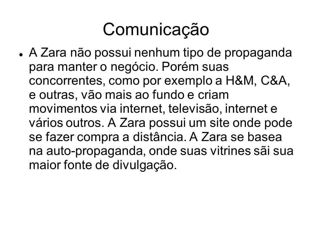 Comunicação A Zara não possui nenhum tipo de propaganda para manter o negócio. Porém suas concorrentes, como por exemplo a H&M, C&A, e outras, vão mai