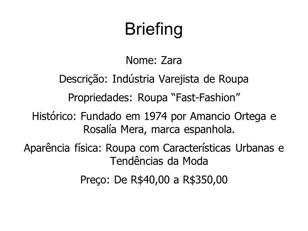 Briefing Nome: Zara Descrição: Indústria Varejista de Roupa Propriedades: Roupa Fast-Fashion Histórico: Fundado em 1974 por Amancio Ortega e Rosalía M
