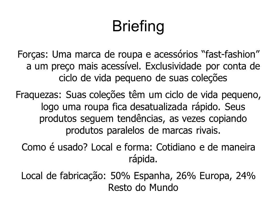 Briefing Forças: Uma marca de roupa e acessórios fast-fashion a um preço mais acessível. Exclusividade por conta de ciclo de vida pequeno de suas cole