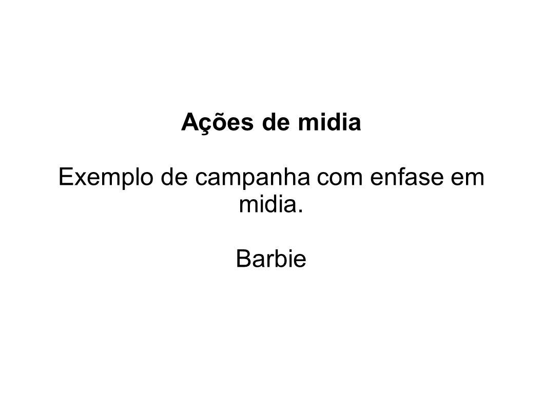 Ações de midia Exemplo de campanha com enfase em midia. Barbie