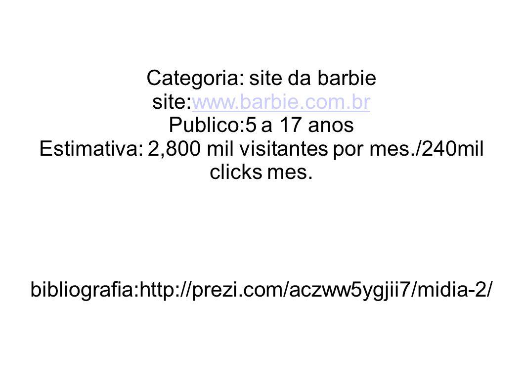Categoria: site da barbie site:www.barbie.com.brwww.barbie.com.br Publico:5 a 17 anos Estimativa: 2,800 mil visitantes por mes./240mil clicks mes. bib