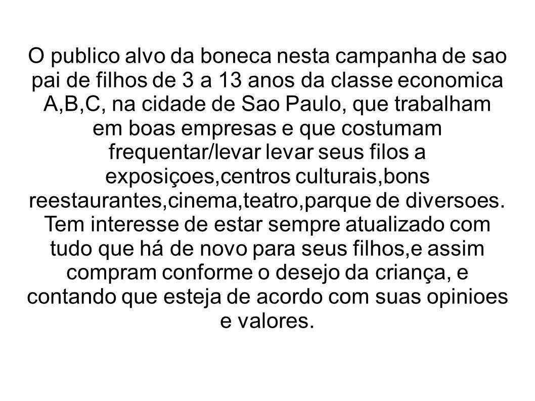 O publico alvo da boneca nesta campanha de sao pai de filhos de 3 a 13 anos da classe economica A,B,C, na cidade de Sao Paulo, que trabalham em boas e