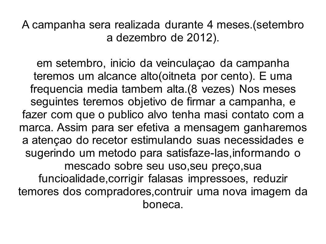A campanha sera realizada durante 4 meses.(setembro a dezembro de 2012). em setembro, inicio da veinculaçao da campanha teremos um alcance alto(oitnet