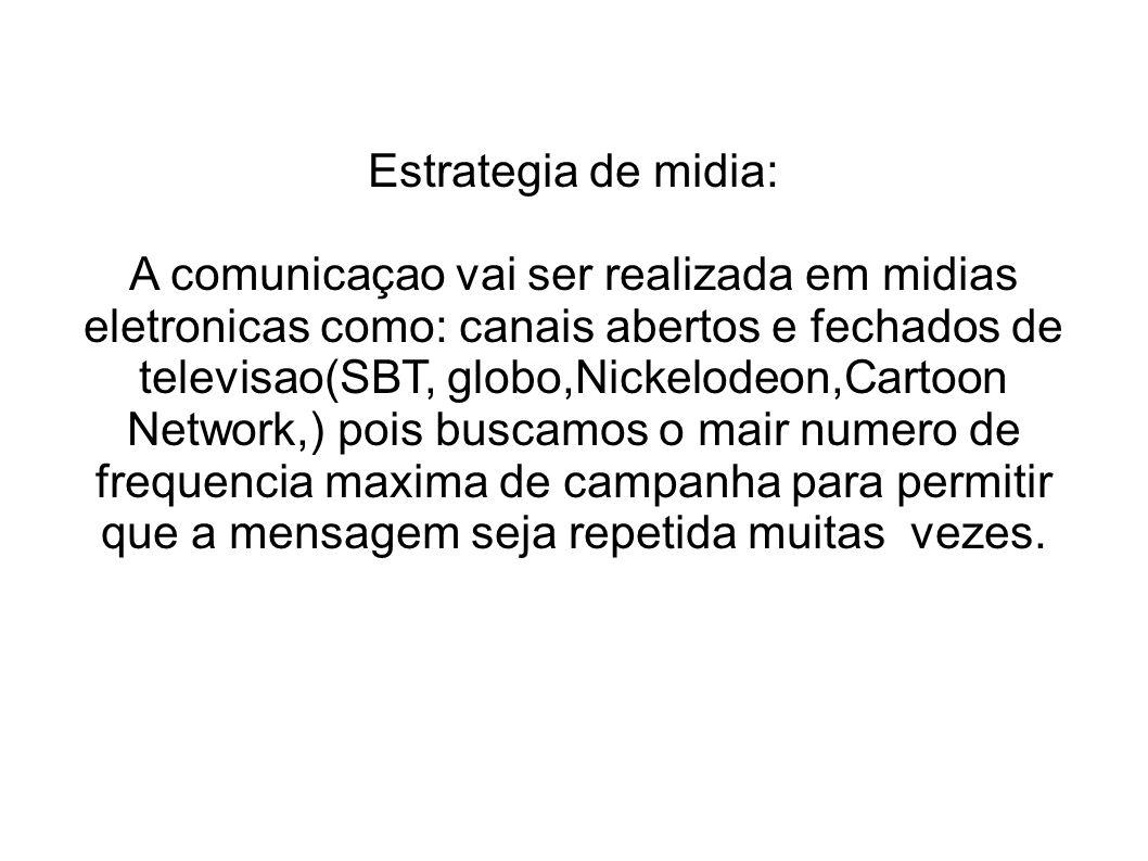Estrategia de midia: A comunicaçao vai ser realizada em midias eletronicas como: canais abertos e fechados de televisao(SBT, globo,Nickelodeon,Cartoon