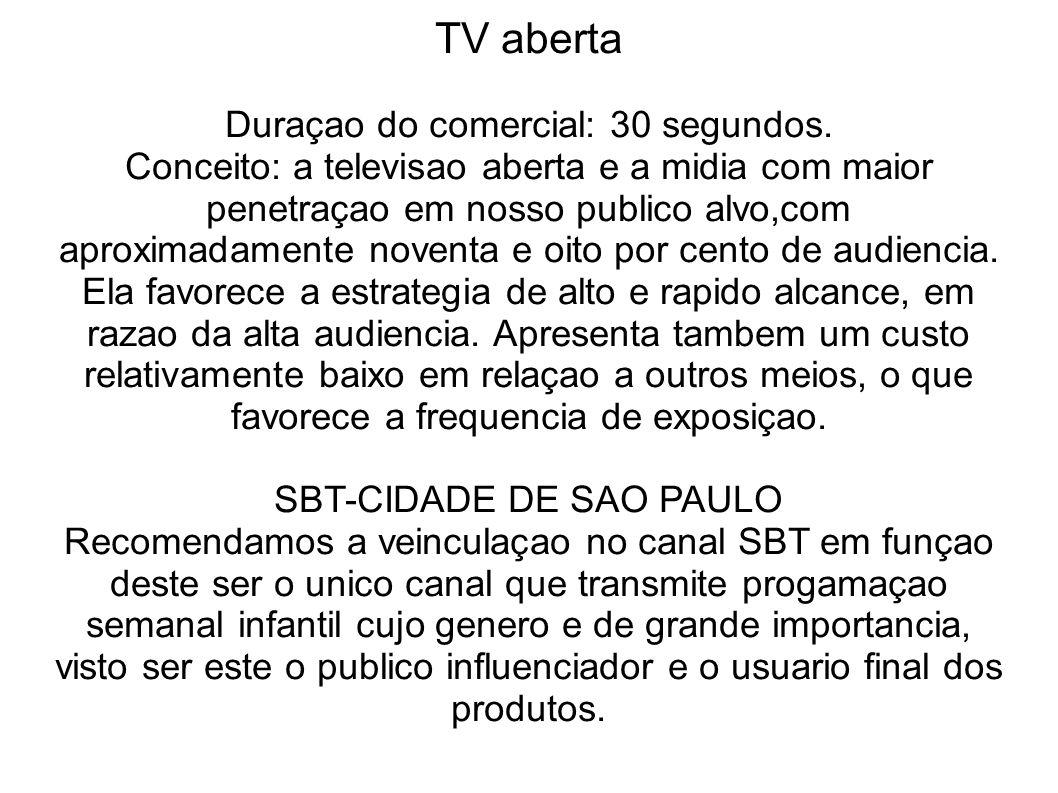 TV aberta Duraçao do comercial: 30 segundos. Conceito: a televisao aberta e a midia com maior penetraçao em nosso publico alvo,com aproximadamente nov