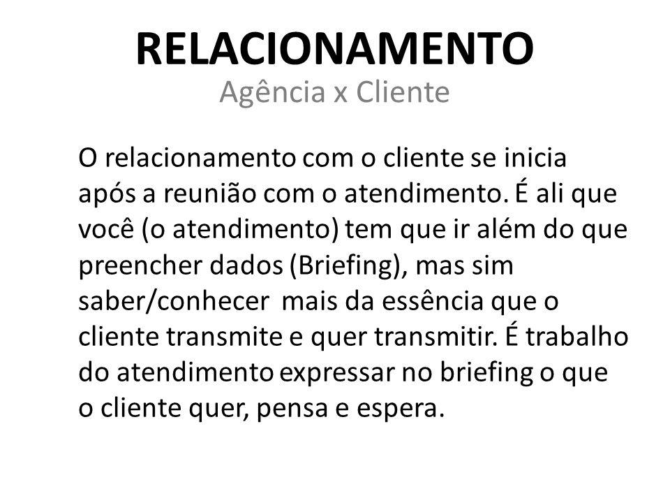 RELACIONAMENTO Agência x Cliente O relacionamento com o cliente se inicia após a reunião com o atendimento. É ali que você (o atendimento) tem que ir