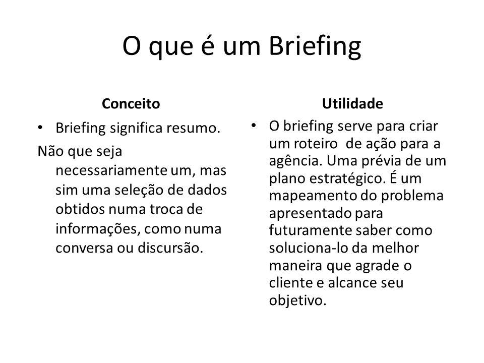 Geralmente um briefing tem os dados do cliente, o tipo da empresa, o que vende ou serviço prestado, características de diferenciação, qual conceito gostaria de passar ao público, qual o perfil de quem ele quer atingir, etc.