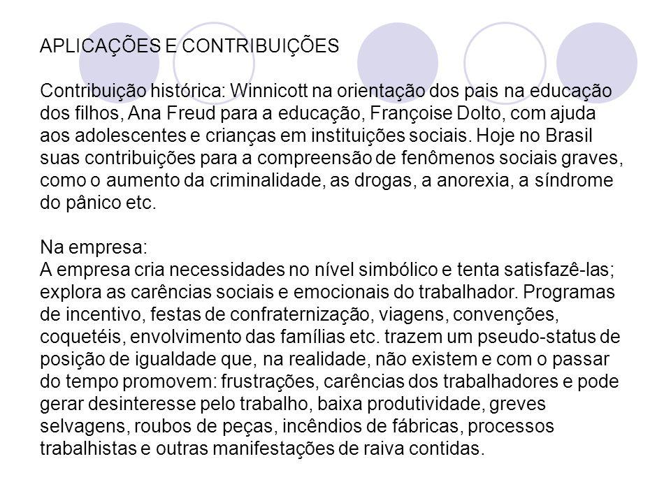 APLICAÇÕES E CONTRIBUIÇÕES Contribuição histórica: Winnicott na orientação dos pais na educação dos filhos, Ana Freud para a educação, Françoise Dolto