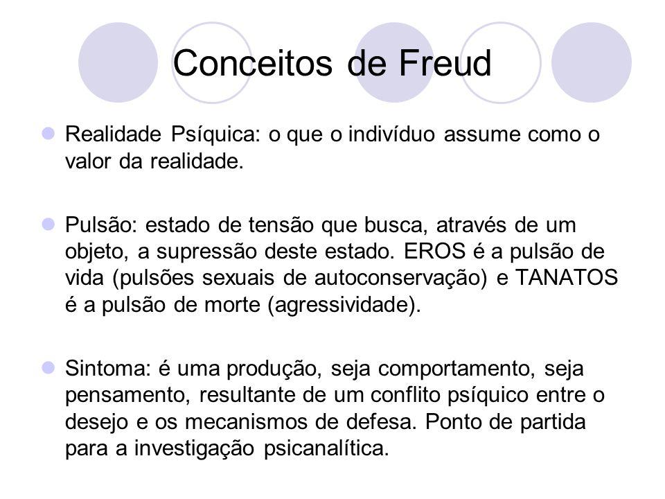 Conceitos de Freud Realidade Psíquica: o que o indivíduo assume como o valor da realidade. Pulsão: estado de tensão que busca, através de um objeto, a