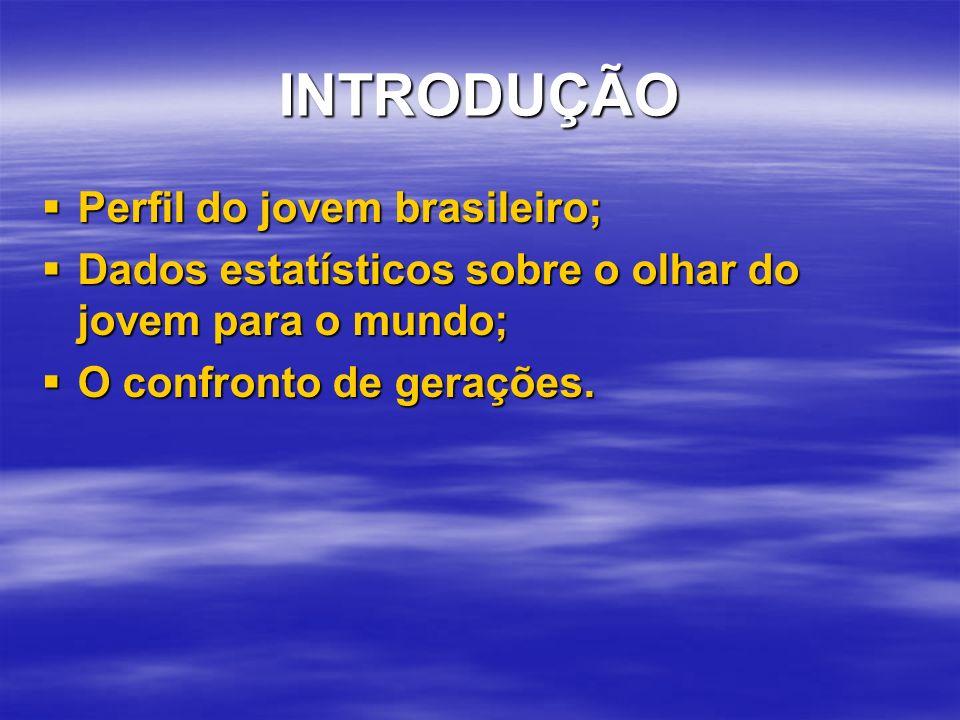 INTRODUÇÃO Perfil do jovem brasileiro; Perfil do jovem brasileiro; Dados estatísticos sobre o olhar do jovem para o mundo; Dados estatísticos sobre o