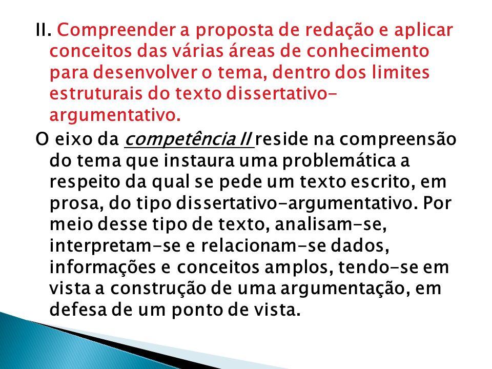 II. Compreender a proposta de redação e aplicar conceitos das várias áreas de conhecimento para desenvolver o tema, dentro dos limites estruturais do