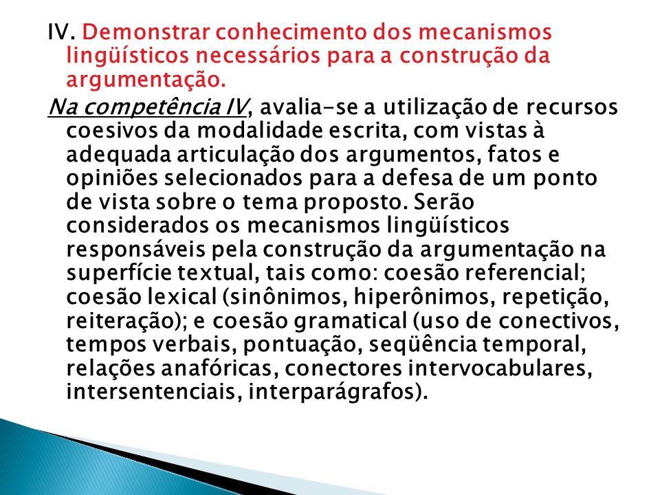 IV. Demonstrar conhecimento dos mecanismos lingüísticos necessários para a construção da argumentação. Na competência IV, avalia-se a utilização de re
