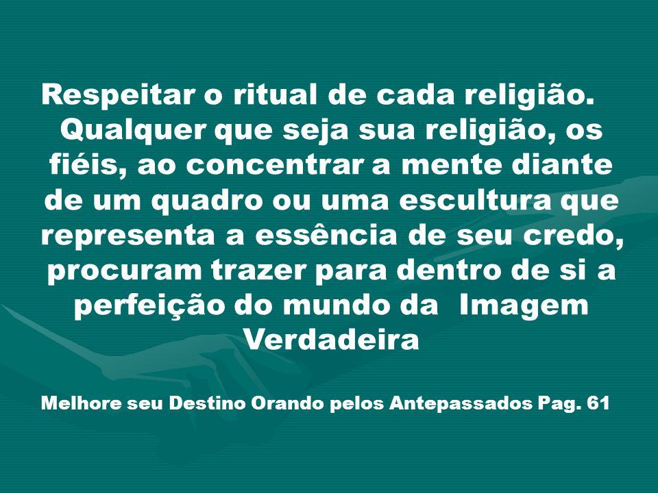 Respeitar o ritual de cada religião. Qualquer que seja sua religião, os fiéis, ao concentrar a mente diante de um quadro ou uma escultura que represen