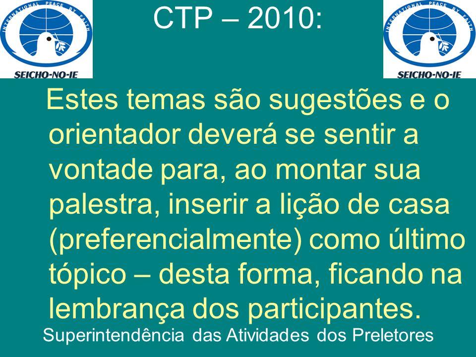 Boa sorte! CTP – 2010: Superintendência das Atividades dos Preletores