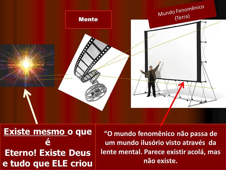 Mente Mundo Fenomênico (Terra) O mundo fenomênico não passa de um mundo ilusório visto através da lente mental. Parece existir acolá, mas não existe.
