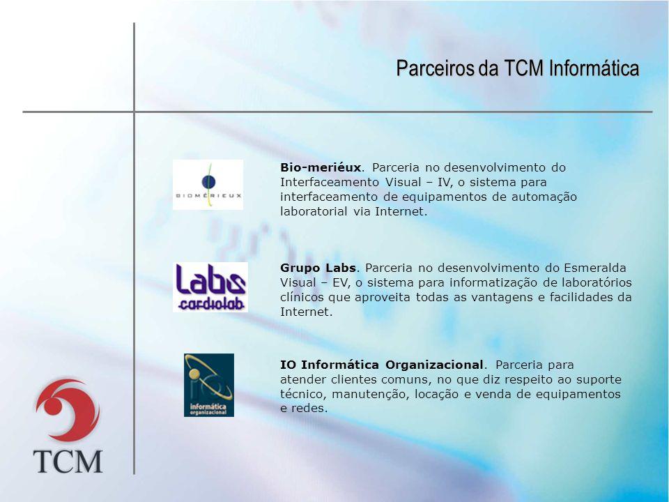 Parceiros da TCM Informática Bio-meriéux. Parceria no desenvolvimento do Interfaceamento Visual – IV, o sistema para interfaceamento de equipamentos d