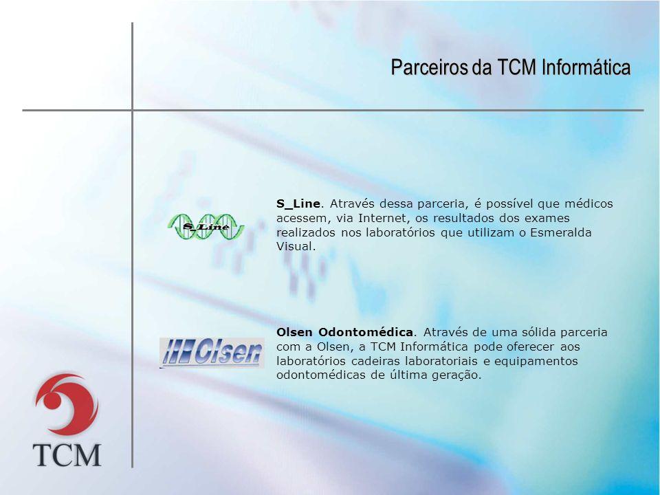 Parceiros da TCM Informática S_Line. Através dessa parceria, é possível que médicos acessem, via Internet, os resultados dos exames realizados nos lab