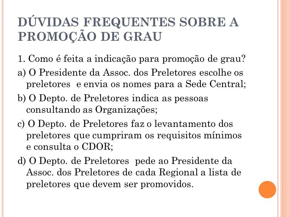 DÚVIDAS FREQUENTES SOBRE A PROMOÇÃO DE GRAU 1. Como é feita a indicação para promoção de grau? a) O Presidente da Assoc. dos Preletores escolhe os pre