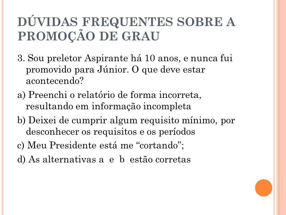 DÚVIDAS FREQUENTES SOBRE A PROMOÇÃO DE GRAU 4.