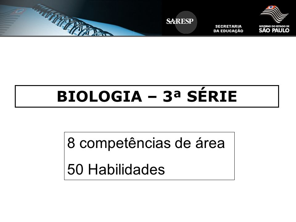 BIOLOGIA – 3ª SÉRIE 8 competências de área 50 Habilidades