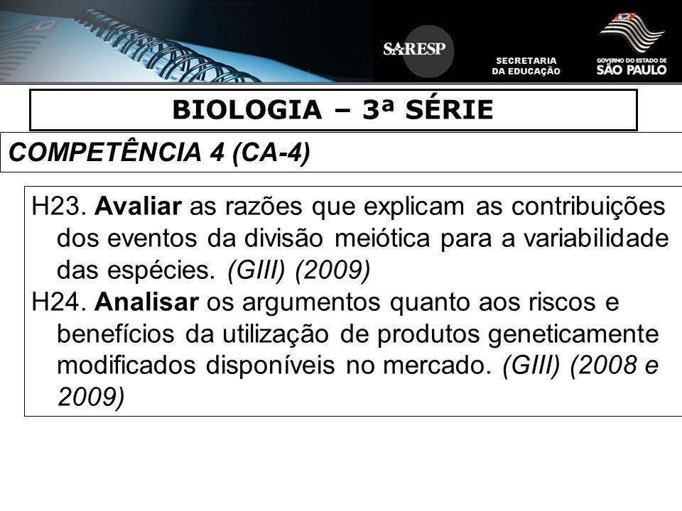 BIOLOGIA – 3ª SÉRIE COMPETÊNCIA 4 (CA-4) H23. Avaliar as razões que explicam as contribuições dos eventos da divisão meiótica para a variabilidade das