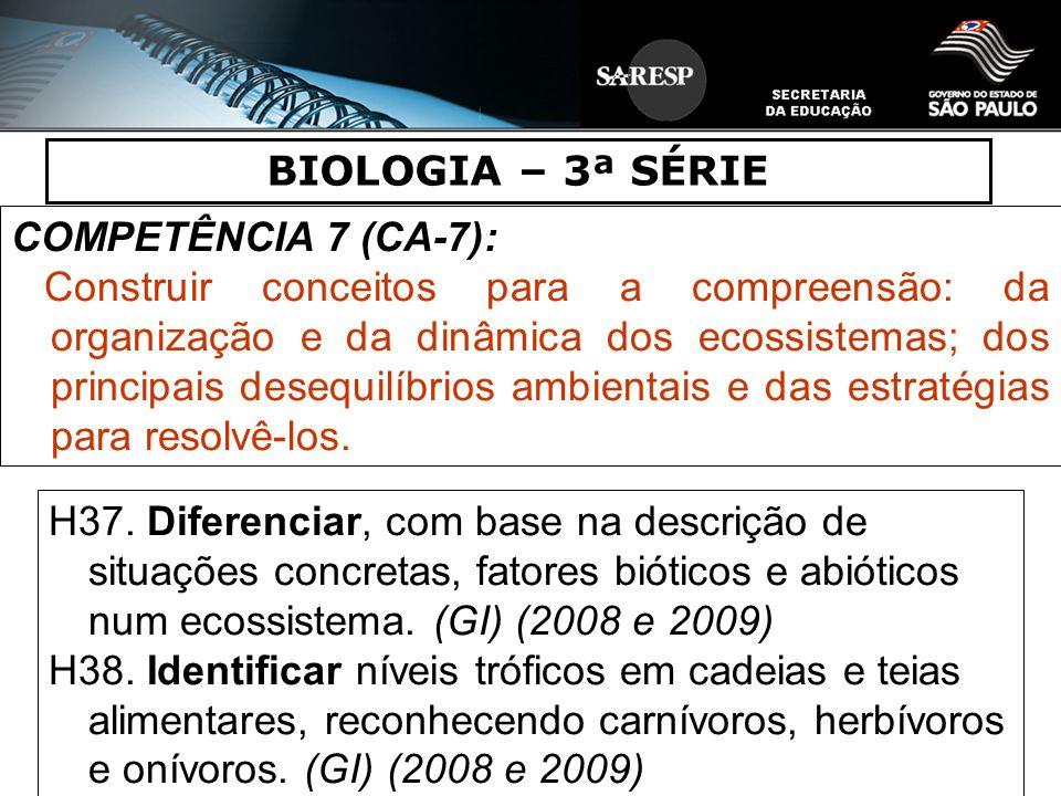 BIOLOGIA – 3ª SÉRIE COMPETÊNCIA 7 (CA-7): Construir conceitos para a compreensão: da organização e da dinâmica dos ecossistemas; dos principais desequ